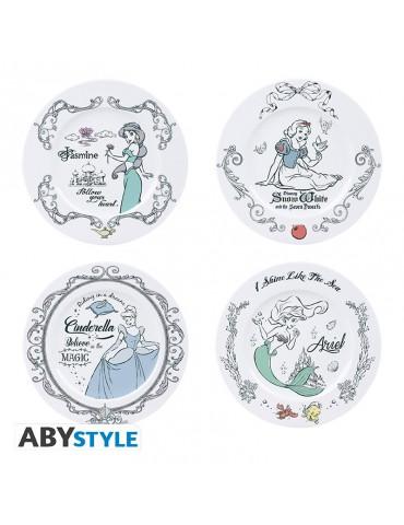 DISNEY - Set de 4 Assiettes - Disney Princesses